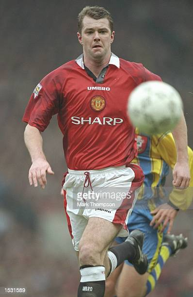 Gary Pallister of Manchester United in action during the FA Carling Premier League match between Manchester United and Southampton at Old Trafford in...