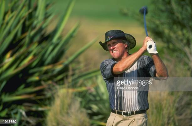 Greg Norman of Australia in action during the Dubai Desert Classic at the Emirates Golf Club Dubai Mandatory Credit David Cannon /Allsport