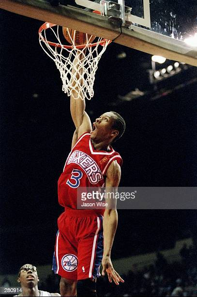 Guard Allen Iverson of the Philadelphia 76ers goes up for two during a game against the Los Angeles Clippers at the Los Angeles Sports Arena in Los...
