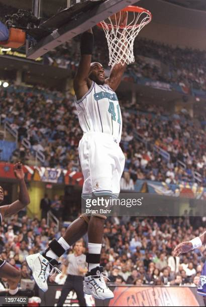 Guard and most valuable Glen Rice of the Charlotte Hornets slam dunks the ball during the NBA AllStar Game at the Gund Arena in Cleveland Ohio...