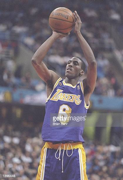 Guard Eddie Jones of the Los Angeles Lakers shoots the ball during the NBA AllStar Game at the Gund Arena in Cleveland Ohio The East won the game...