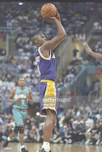 Guard Kobe Bryant of the Los Angeles Lakers shoots the ball during the NBA AllStar Rookie Game at the Gund Arena in Cleveland Ohio Mandatory Credit...