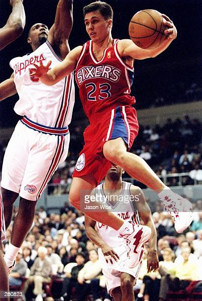 Guard Rex Walters of the Philadelphia 76ers moves the ball during a game against the Los Angeles Clippers at the Los Angeles Sports Arena in Los...