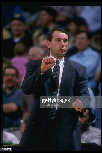 Head Coach Mike Krzyzewski of Duke University gives instructions to his players during the Duke Blue Devils 69-73 loss to UCLA at the Pauley Pavilion...