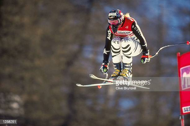 Katja Seizinger of Germany in action during the womens downhill at the Alpine World Championships in Sestriere Italy Seizinger finished fifth overall...