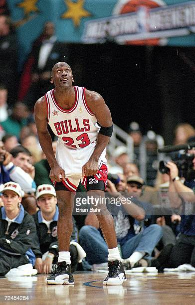 Michael Jordan of the Chicago Bulls looks up during the NBA AllStar Game at the Gund Arena in Cleveland OhioThe East defeated the West 132120