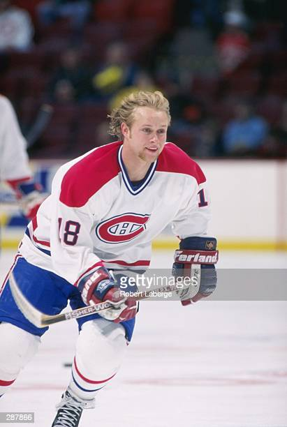 Rightwinger Valeri Bure of the Montreal Canadiens moves down the ice during a game against the New Jersey Devils at The Forum in Montreal, Quebec....