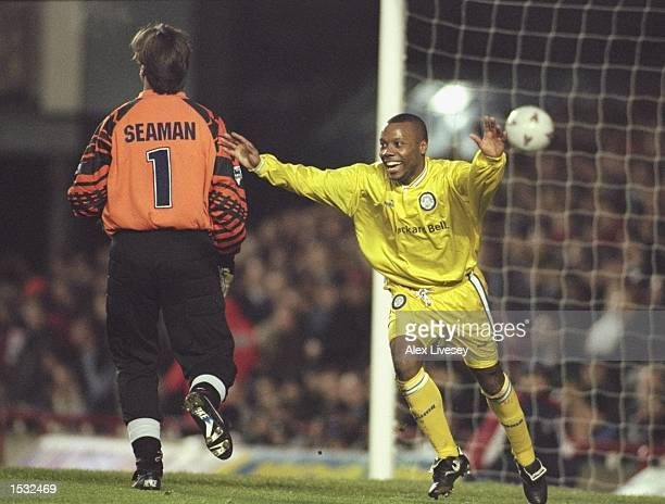 Rod Wallace celebrates his goal for Leeds during the FA cup Fourth round tie between Arsenal and Leeds at Highbury in London Leeds won the match 01...