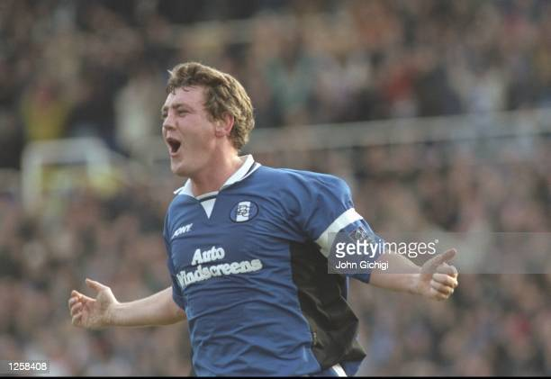 Steve Bruce celebrates his opening goal during the FA Cup Fifth round match between Birmingham City and Wrexham at St Andrews in Birmingham Wrexham...