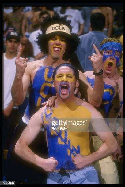 UCLA fans celebrate during the Bruins 7369 win over Duke University at the Pauley Pavilion in Westwood California Mandatory Credit Brian Bahr...