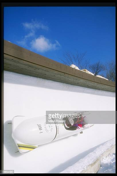 View of the Jamaica 1 bobsleigh team with driver Dudely Stokes during four man training at Spiral Nagano Japan Mandatory Credit Mike Powell /Allsport
