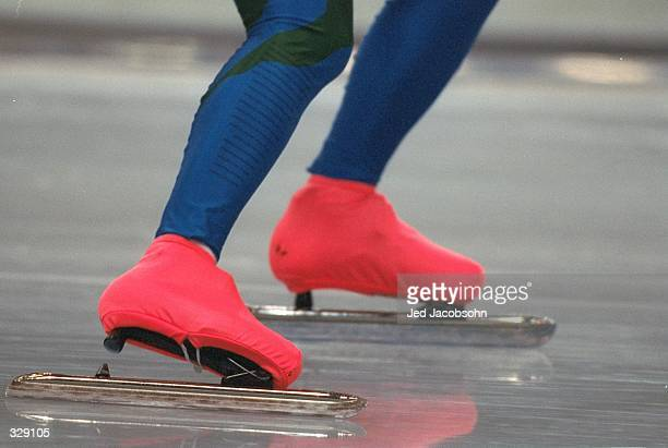 A detail shot of a pair of clap skates during the womens 1000m skate at the MWave Arena during the 1998 Winter Olympic Games in Nagano Japan...