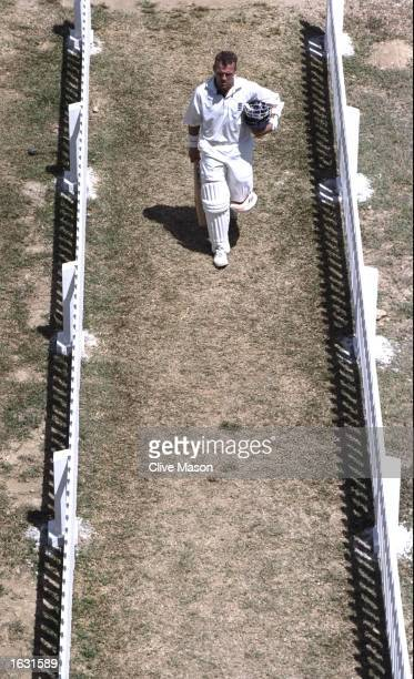 Alec Stewart of England returns to the pavilion during the Third Test against the West Indies at the Queens Park Oval in Port of Spain Trinidad...