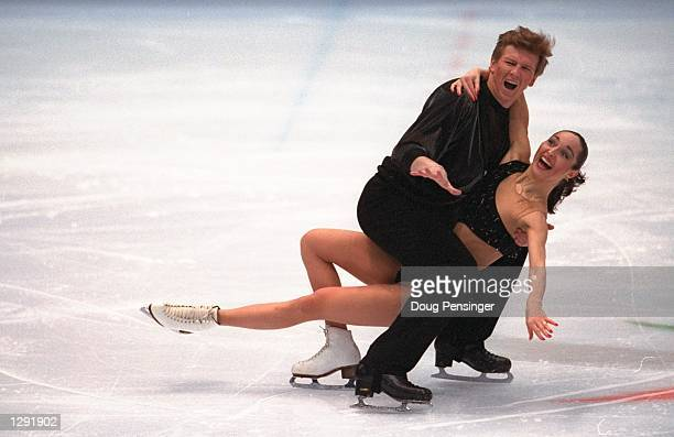 Anjelika Krylova and Oleg Ovsyannikov of Russia compete in the ice dancing competition at White Ring Arena during the 1998 Winter Olympic Games in...