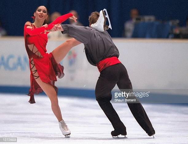 Anjelika Krylova and Oleg Ovsyannikov of Russia perform their silver medal routine during the ice dancing competition at White Ring Arena during the...