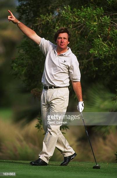 Barry Lane of England indicates to officials during the Dubai Desert Classic at the Emirates Golf Club in Dubai United Arab Emirates Mandatory Credit...