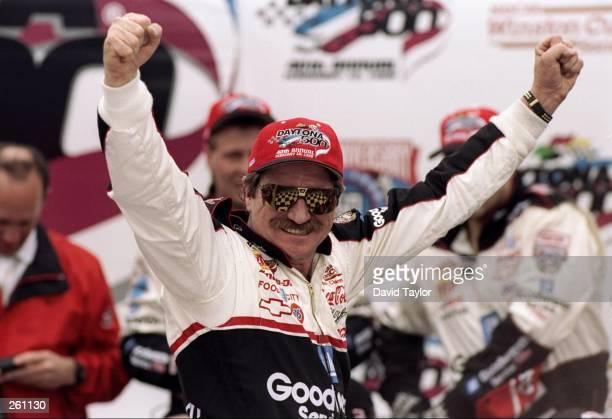 Dale Earnhardt celebrates after winning the Daytona 500 at Daytona International Speedway in Daytona Beach, Florida.