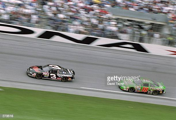 Dale Earnhardt is pursued by Bobby Labonte during the Nascar Daytona 500 at the Daytona International Speedway in Daytona Beach Florida Mandatory...