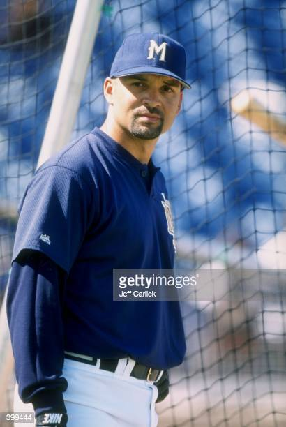 Darrin Jackson of the Milwaukee Brewers at Spring Training at the Maryvale Baseball Park in Phoenix Arizona