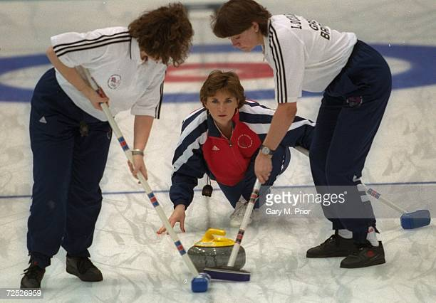 Edith Loudon of Great Britian releases the stone at Kazakosohi Park during the womens curling during the 1998 Winter Olympic Games in Nagano Japan...