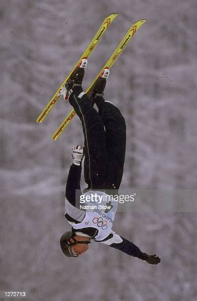 Eric Bergoust of the USA wins the Gold medal in the mens freestyle aerials skiing event at the 1998 Olympic Winter Games in Nagano Japan Mandatory...