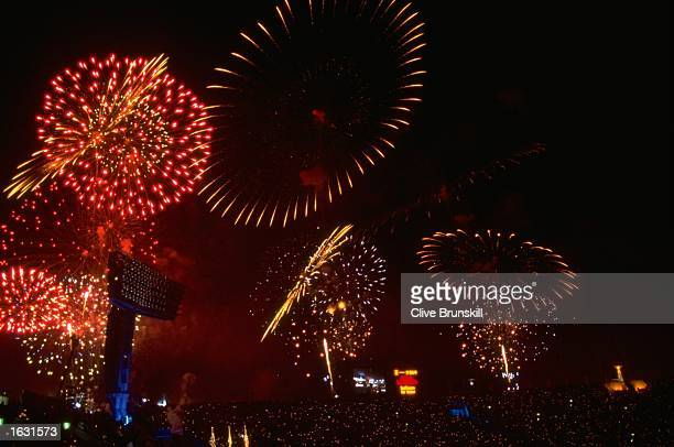 Fireworks explode during the Closing Ceremony of the 1998 Winter Olympic Games at the Minami Sports Park in Nagano Japan Mandatory Credit Clive...
