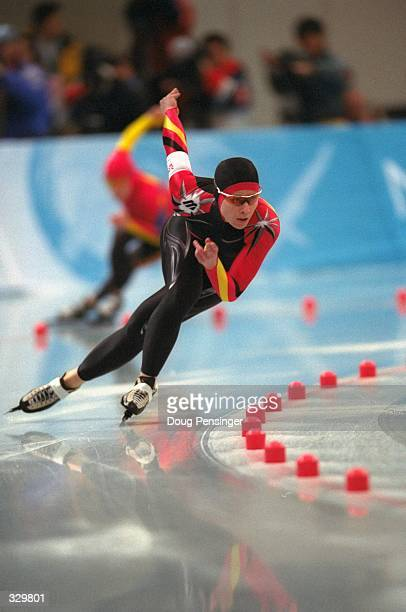 Franziska Schenk of Germany competes in the womens 500m speed skate at the MWave during the 1998 Winter Olympic Games in Nagano Japan Mandatory...