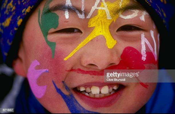 General view of a fan during the Winter Olympics in Nagano Japan Mandatory Credit Clive Brunskill /Allsport