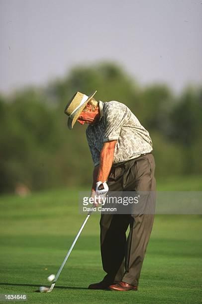 Greg Norman of Australia in action during the Dubai Desert Classic at the Emirates Golf Club in Dubai United Arab Emirates Mandatory Credit David...