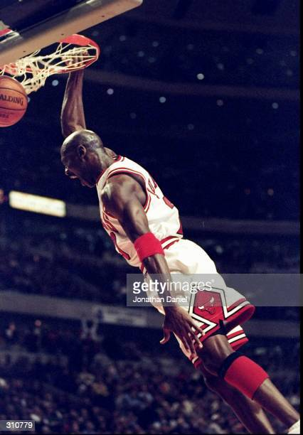 Guard Michael Jordan of the Chicago Bulls goes up for two during a game against the Indiana Pacers The Bulls defeated the Pacers 10597 Mandatory...