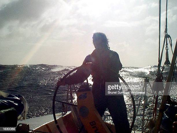 Helming on a knife edge without hat or gloves in the Southern Ocean onboard BrunelSunergy during the fifth leg of the Whitbread Round the World Race...