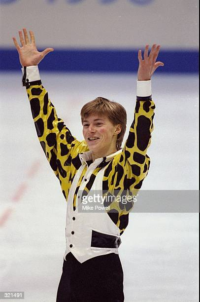 Ilia Kulik of Russia celebrates after competing in the men''s free skating during the Winter Olympics in Nagano Japan Kulik won the gold medal...