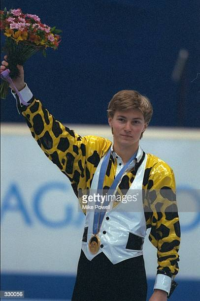 Ilia Kulik of Russia celebrates his gold medal win in the mens free skate competition at White Ring Arena during the 1998 Winter Olympic Games in...