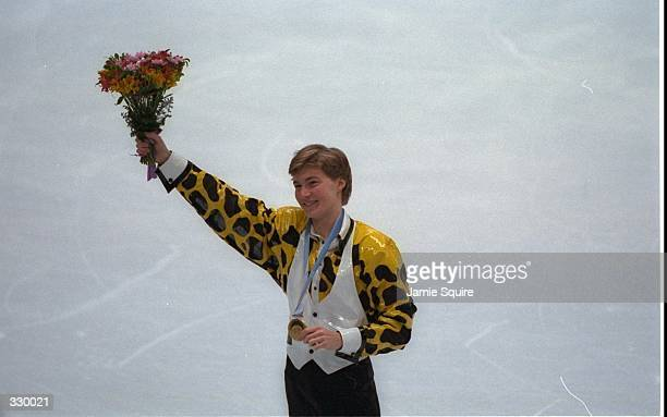 Illia Kulik of the Russia wins the gold medal in the mens free skate at the White Ring Arena during the 1998 Winter Olympic Games in Nagano Japan...