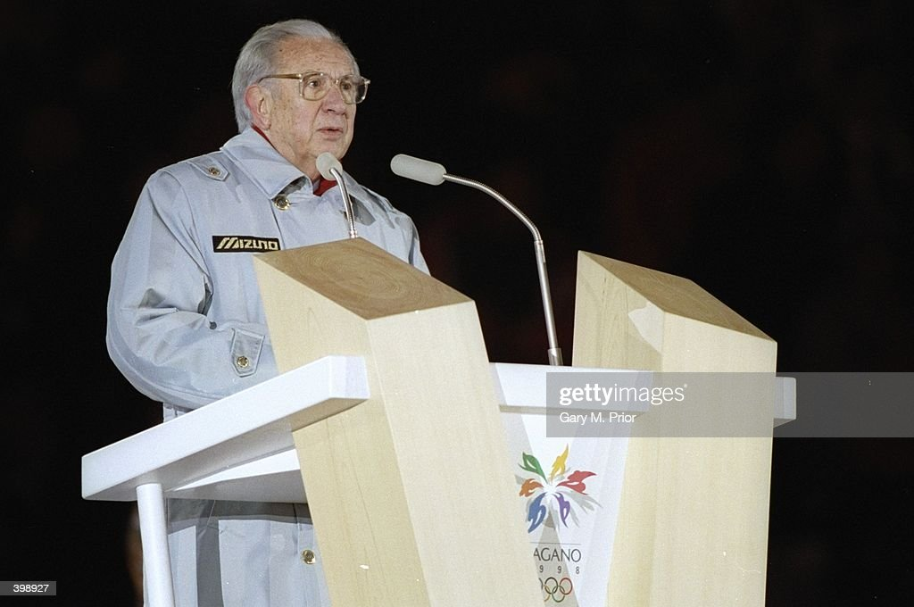 International Olympic Committee President Juan Antonio Samaranch gives a speech during the Closing Ceremony of the 1998 Winter Olympic Games at the Minami Sports Park in Nagano, Japan. Mandatory Credit: Gary M Prior/Allsport