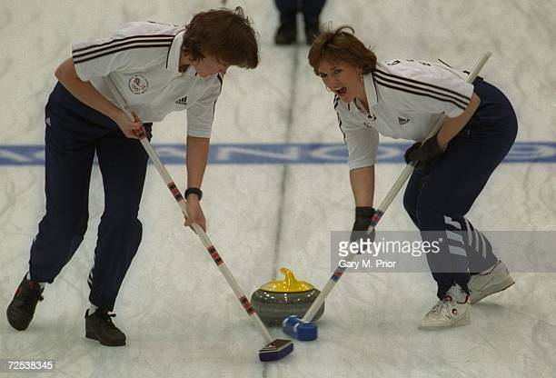 Jackie Louden of Great Britain encourages the stone at Kazakosohi Park during the womens curling during the 1998 Winter Olympic Games in Nagano Japan...