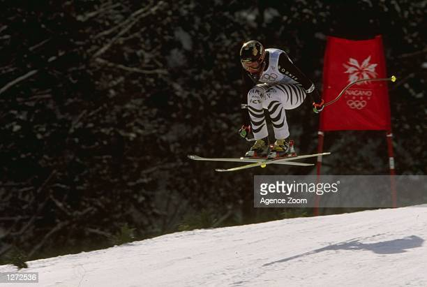 Katja Seizinger of Germany in her Gold medal winning run in the Ladies downhill at the 1998 Olympic Winter games in Nagano Japan Mandatory Credit...