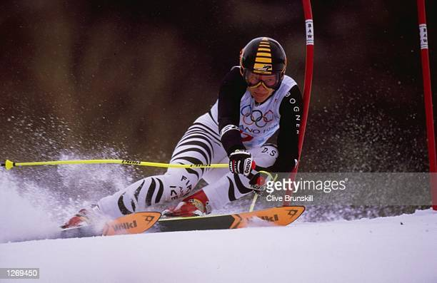 Katja Seizinger of Germany win the bronze medal in the womens giant slalom at shiga kogen during the 1998 Olympic Winter Games in Nagano Japan...