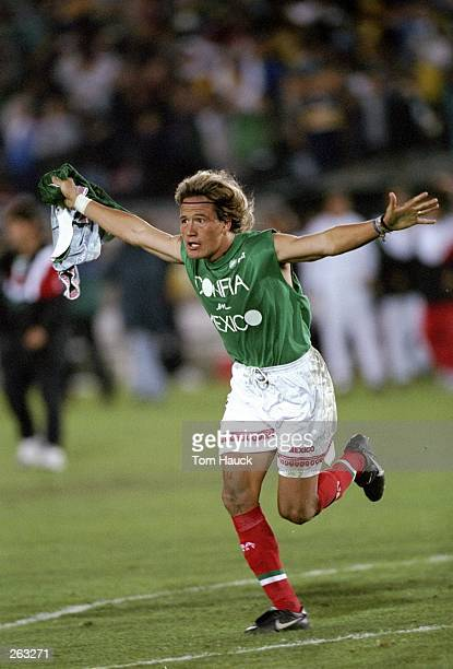 Luis Hernandez of Mexico celebrates during a CONCACAF Gold Cup game against Jamaica at the Los Angeles Coliseum in Los Angeles California Mexico won...