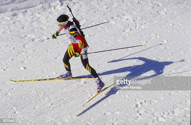 Martina Zellner of Germany competing in the women''s biathlon relay during the Winter Olympics in Nagano, Japan. Mandatory Credit: Steve Munday...