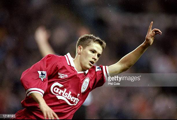 Michael Owen of Liverpool celebrates his goal during the FA Carling Premiership match against Sheffield Wednesday played at Hillsborough in...