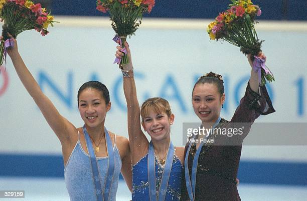 Michelle Kwan of the USA won the silver medal Tara Lipinski of the USA won the gold medal and Lu Chen of China won the bronze medal in the free skate...