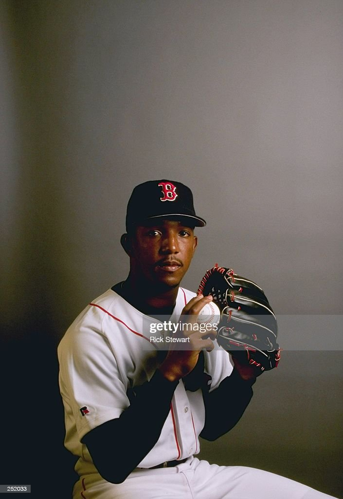 Pedro Martinez #45 of the Boston Red Sox poses for a portrait during Spring Training at the City of Palms Park in Fort Myers, Florida. Mandatory Credit: Rick Stewart /Allsport