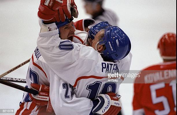Petr Svoboda and Pavel Patera of Czechoslovakia embrace during the final match against Russia during the Winter Olympics in Nagano Japan...