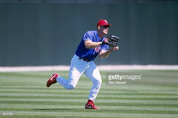 Rusty Greer of the Texas Rangers in action during a workout session during Spring Training at the Charlotte County Stadium in Port Charlotte,...