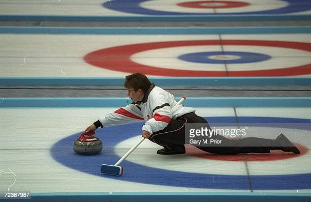 Sandra Schmirler of Canada releases the stone at Kazakosohi Park during the womens curling during the 1998 Winter Olympic Games in Nagano Japan...