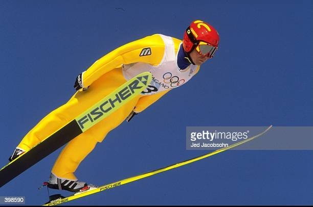 Sergei Zacharenko of Belarus in action during the Nordic Combined Ski Jump event of the 1998 Winter Olympic Games at Happo''one Hakuba in Nagano,...