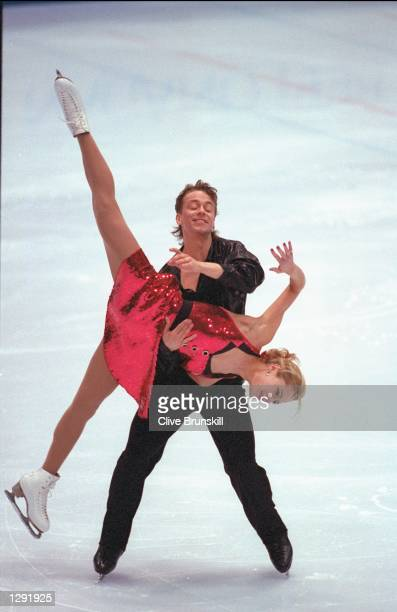 ShaeLynn Bourne and Victor Kraatz of Canada compete in the ice dancing competition at White Ring Arena during the 1998 Winter Olympic Games in Nagano...