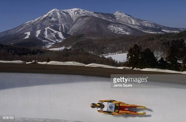 Stefan Krausse and Jan Behrendt of Germany won the gold in the two man luge at the Spiral during the 1998 Winter Olympic Games in Nagano Japan...