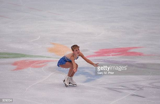 Tara Lipinski of the USA performs during the free skate competition at White Ring Arena during the 1998 Winter Olympic Games in Nagano Japan Lipinski...